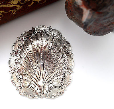 SILVER Ornate Nautical Motif SHELL Stamping ~ Antique Silver Finding (FB-6082) `