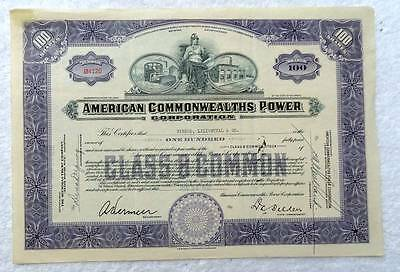 1932 Stock Certificate American Commonwealths Power Corporation #64