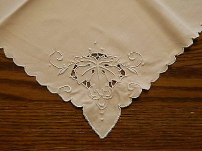 "Napkins 16"" square peach cut work embroidery x 8"