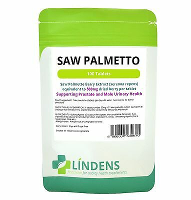 Saw Palmetto 500mg 100 Tablets Prostate & Male Urinary Health (Lindens 0670) UK
