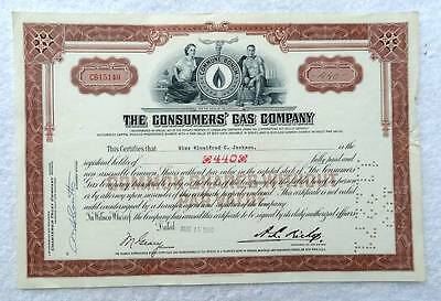 1960 Stock Certificate The Consumers Gas Company #a56