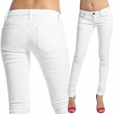 TheMogan Simple White Denim 5 Pocket Ankle Low Rise Skinny Jeans 0~13 Juniors