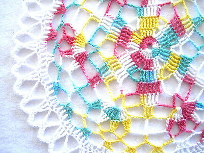 """Small Size- White Green Yellow Colored Handmade Crocheted Thread Round Doily 8"""""""