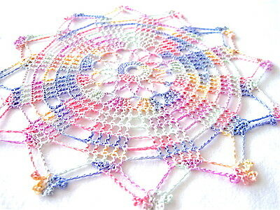 """Small-Multi Colored Handmade Crocheted Thread Round Doily 9"""" Pink Green Blue Red"""