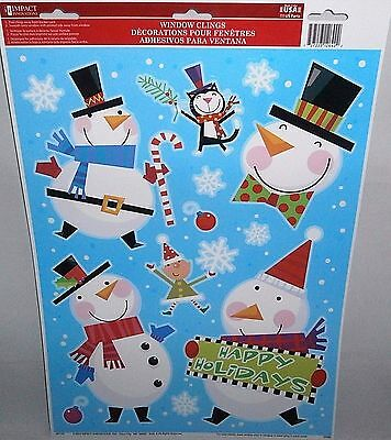 Christmas Window Clings   HAPPY HOLIDAYS  SMILING SNOWMEN