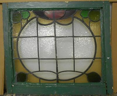 "VICTORIAN EDWARDIAN ENGLISH LEADED STAINED GLASS WINDOW Floral 25.75"" x 22.5"""