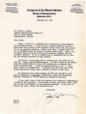 1960 U.S. House of Rep. Joseph W Barr Filed for Re-Election to Congress Letter