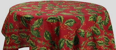 """April Cornell Carol Red Holly Holiday Christmas Tablecloth 70"""" Round"""
