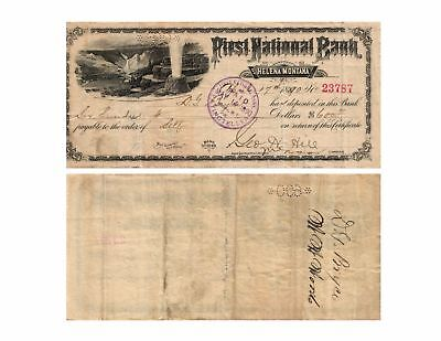 1890 $600. First National Bank - Helena, Montana Old Bank Check Famous Scene