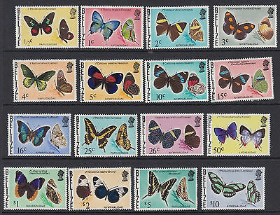 BELIZE : 1974 Butterflies definitives  set SG380-96  MNH
