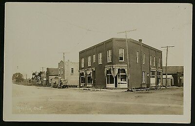Street View with car in Merlin, Ontario c1910s, RPPC,unused, Kent County
