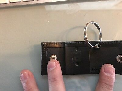 NYC Police Leather Key Ring - NYPD Mini Badge -  Snap Universal  Holder