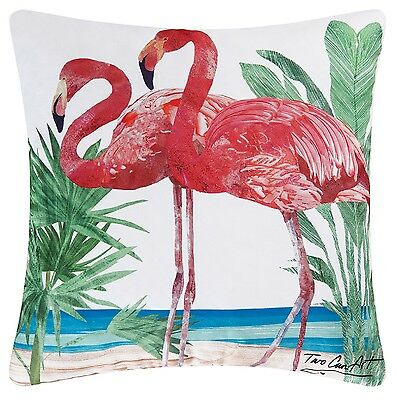 Pink Flamingos At the Beach Accent Pillow 18 X 18 Inch Indoor Outdoor