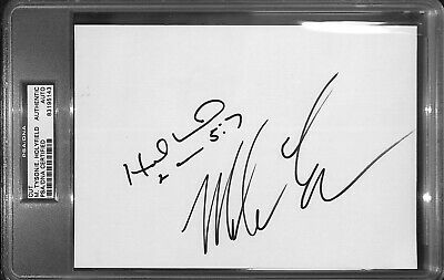 Mike Tyson Evander Holyfield Signed 6x8 Card PSA/DNA COA Slab Autographed Auto'd
