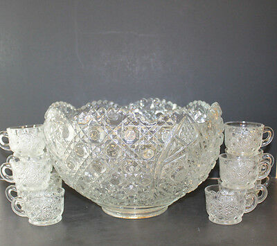 Vintage LE Smith Daisy and Button Pattern Glass Punch Bowl with 12 Cups Mugs