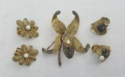 Art Deco Theodor Fahrner Sterling Gilt Gold Brooch & 2 Earring Sets