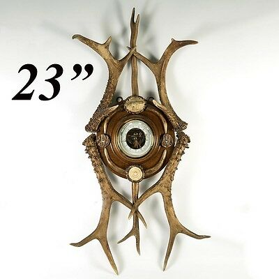 Superb 19th C. Antler Framed Barometer, Carved Stag Antler Dog, Hound, 23""