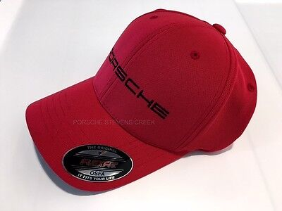 Porsche Baseball Golf Cap Hat Red w/ Black Porsche Script Logo Flexfit