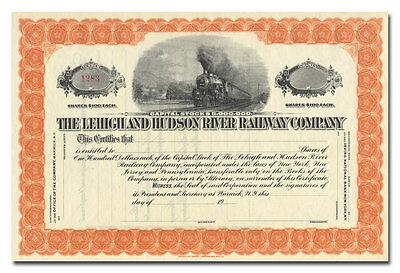 Lehigh and Hudson River Railway Company Stock Certificate