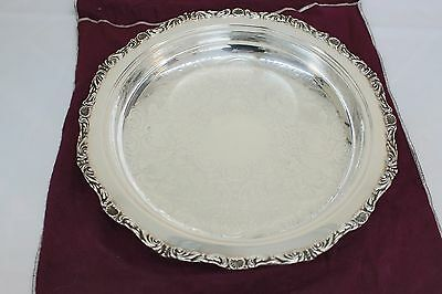 "Vntg Crescent 4887EF Silver 12 3/8"" Footed Pie Plate w/AntiTarnish Bag No Mono"