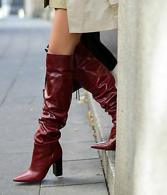 f907f83891bc Rare NWT  239 ZARA AW16 Leather High Heel Boots With Wide Leg Burgundy 5007  101