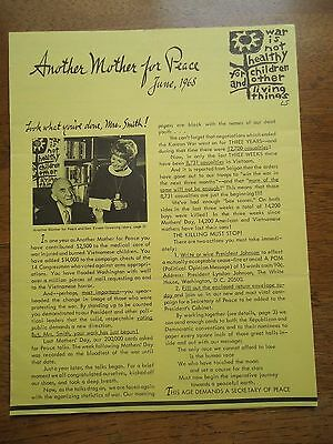June 1968 Another Mother For Peace newsletter - Vietnam War Protest Resistance