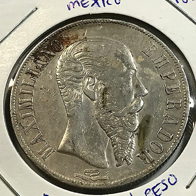 Mexico 1866-Mo Silver Maximilian One Peso Scarce Crown Coin