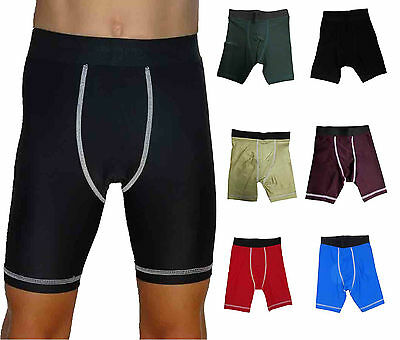 Boys Compression Shorts Youth Ages 4 to Adult Nude Blue Marron Skins Base Layer