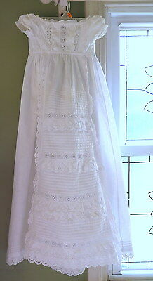 Vtg Antique Victorian Handmade Christening Gown Broderi Anglaise Val Lace Eyelet