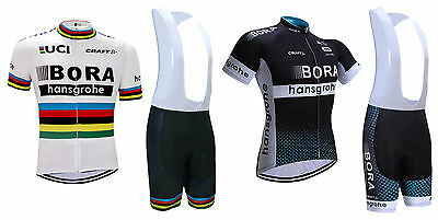 NEW! 2017 Team Bora Cycling Kit Short Sleeve Bike Jersey Padded Bib Shorts Set