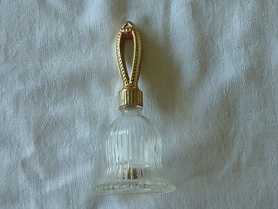 Avon Clear Glass Gold Toned Plastic Bell Cologne After Shave Bottle Collectable