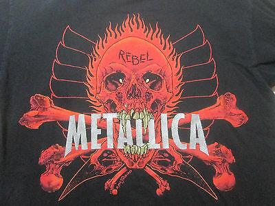 METALLICA Vintage T Shirt 90's TOUR Concert Rebel PUSHEAD Giant Tag Medium