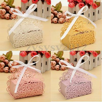 12/24/60X Ribbon Rose Laser Cut Sweet Cake Candy Gift Boxes Wedding Party Favor
