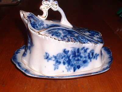 Antique TR&Co. (Thomas Rathbone & Co.) Flow Blue Covered Cheese Dish C 1890-1910