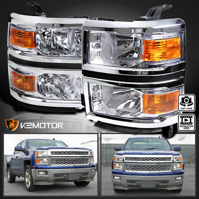 2014-2015 Chevy Silverado 1500 Chrome Headlights Amber Signal Left+Right