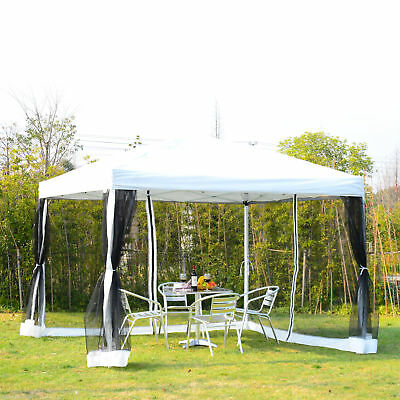 Outsunny 10x10ft Pop Up Wedding Party Tent Canopy w Mesh Curtain Carry Bag White