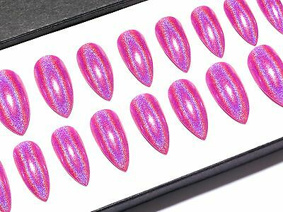 Hand Painted Press On Full Cover False Fake Acrylic Nails Pink Holo Stiletto x24
