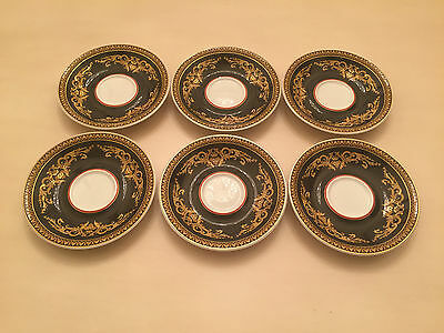 6 Versace Rosenthal Medusa Red Coffee Saucers Set