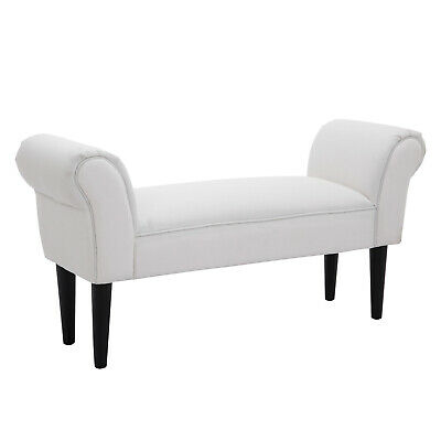 HOMCOM Bed End Chaise Lounge Sofa Window Seater Arm Bench Bedroom Entryway White