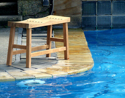 A Grade Teak Double Curved Seat Bench Bathroom Shower Spa Stool Indoor Outdoor