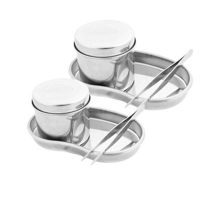 Stainless Steel Beauty Jar Cylinder Tank Bending Tray Plier Eyebrow Tools 2 Sets