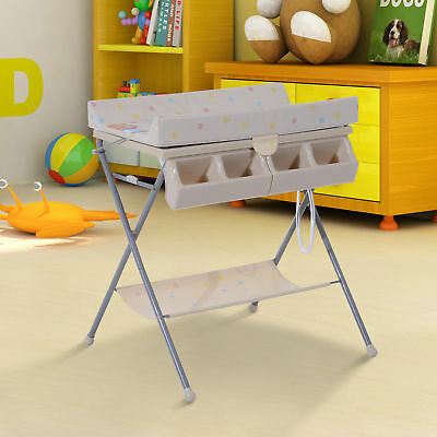HOMCOM Foldable Bath Station Changing Table Padded Baby Changer Storage