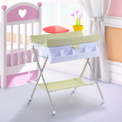 HOMCOM Folding Bath Tub Station Changing Table Padded Baby Changer Storage Tray