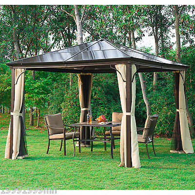 Outsunny 10x10ft Deluxe Hard Top Gazebo Canopy Shelter Curtain Mosquito Netting