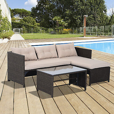 3pcs Outdoor Rattan Wicker Sofa and Chaise Lounge Set with Cushion Garden Patio