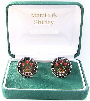 1952 Threepence cufflinks from real coins Black & Gold & Colours