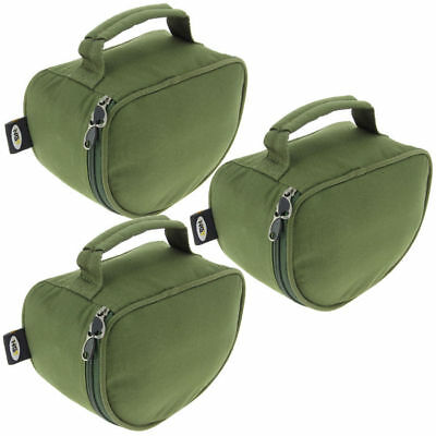 3 x NGT PADDED PIG PIT REEL CASE FOR CARP FISHING TACKLE REELS WITH LINE SPOOL