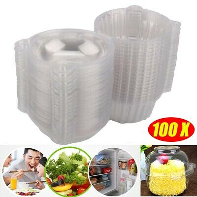 100pcs Individual Clear Plastic Single Cup Cake snack Case Pods Domes Box Carrie