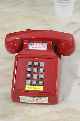 Vintage Cortelco ITT Touch-Tone Dial Desk Top Phone Red Telephone NICE