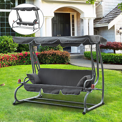 Outdoor Swing Chair Garden Metal Hammock Swinging 3 Seater Lounger Canopy Seat
